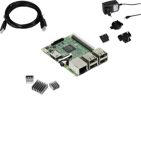 Schede di sviluppo e Single Board Computer - Raspberry Pi® 3 B RB-Pure-Set 1 GB 4 x 1.2 GHz incl. dissipatore, incl. cavo di alimentazione, incl. cavo HDMI Joy-it -