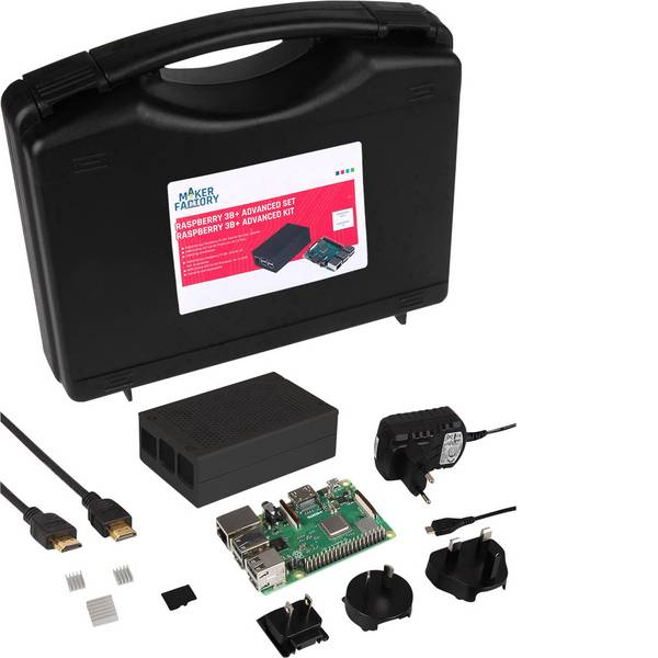 Schede di sviluppo e Single Board Computer - Raspberry Pi® 3 B+ Advanced Set 1 GB 4 x 1.4 GHz incl. custodia, incl. Noobs OS, incl. dissipatore, incl. cavo di  -