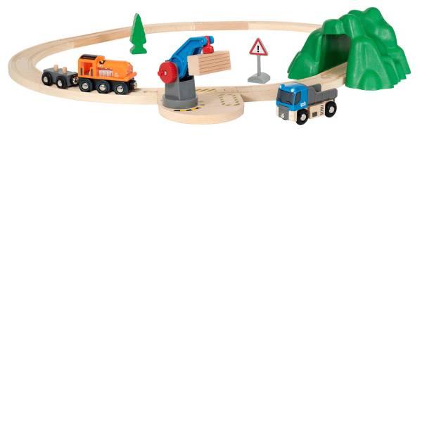 Trenini e binari per bambini - Ravensburger BRIO Starterset Güterzug mit Kran, ab 3 Jahren, Holz 33878 -