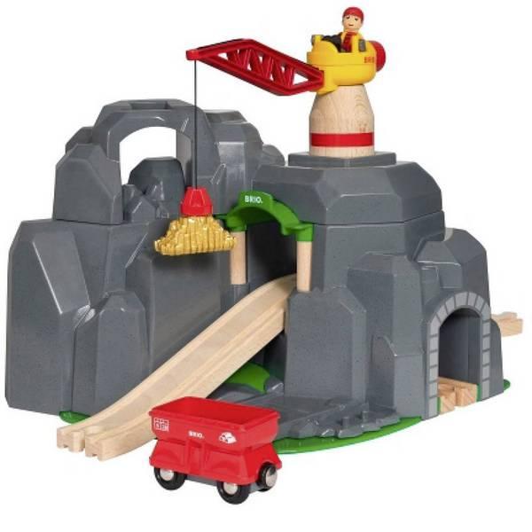 Trenini e binari per bambini - Brio Große Goldmine mit Sound-Tunnel 33889 -