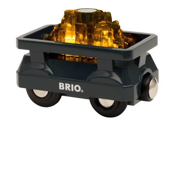 Trenini e binari per bambini - Ravensburger BRIO Goldwaggon mit Licht 33896 -