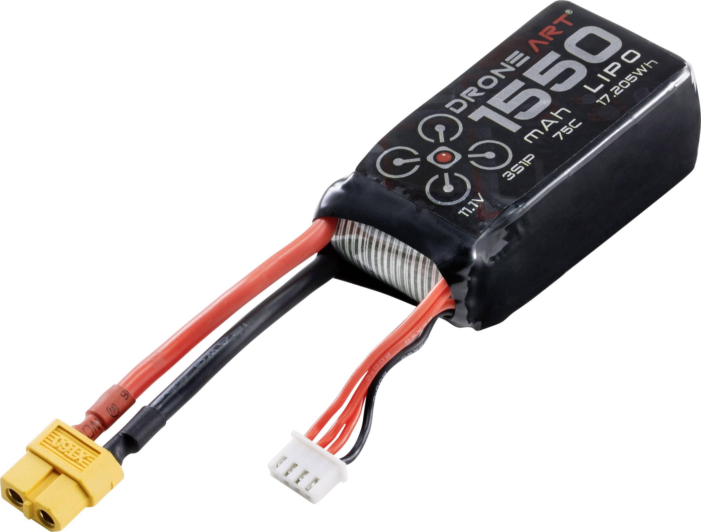 DroneArt Batteria ricaricabile LiPo 11.1 V 1550 mAh Numero di celle: 3 75 C Softcase XT60