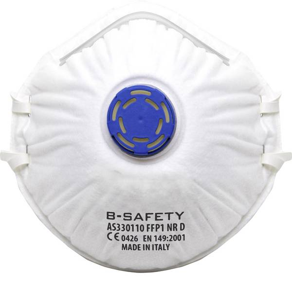 Maschere per polveri fini - B-SAFETY pure breath AS330110 Mascherina antipolvere con valvola FFP1 10 pz. -