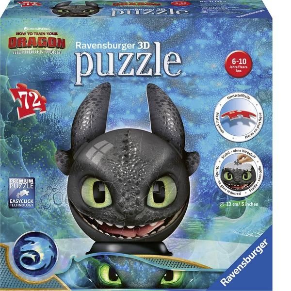 Puzzle - Ravensburger Dragons 3 Ohnezahn mit Ohren 3D Puzzle-Ball 11145 -