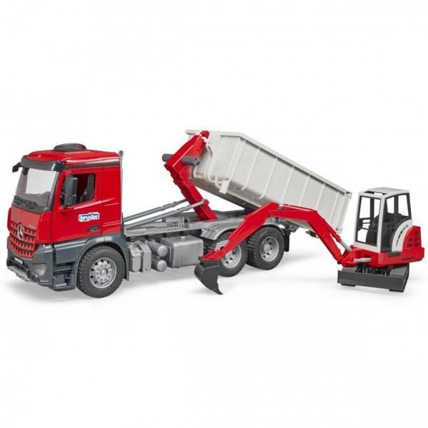 Veicoli industriali e veicoli da cantiere - Abrollcontainer bruder MB Arocs con + mini ruspa Schaeff -