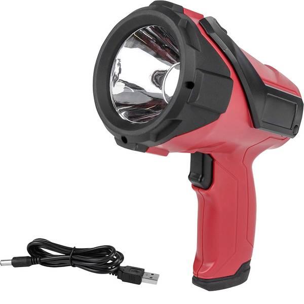 Torce con batterie ricaricabili - Eufab 13491 Lampada portatile a batteria LED 3W Nero, Rosso LED 2.5 h -