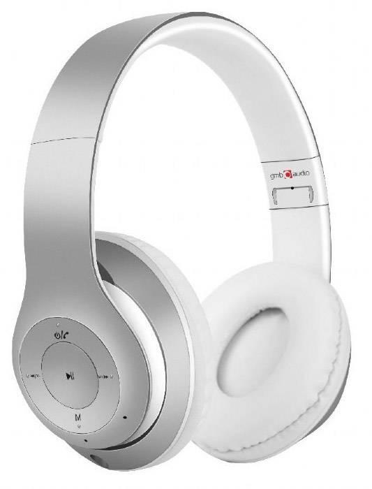 Gembird BHP-MXP-SW Milano Bluetooth Cuffia Cuffia Over Ear headset con microfono Argento, Bianco