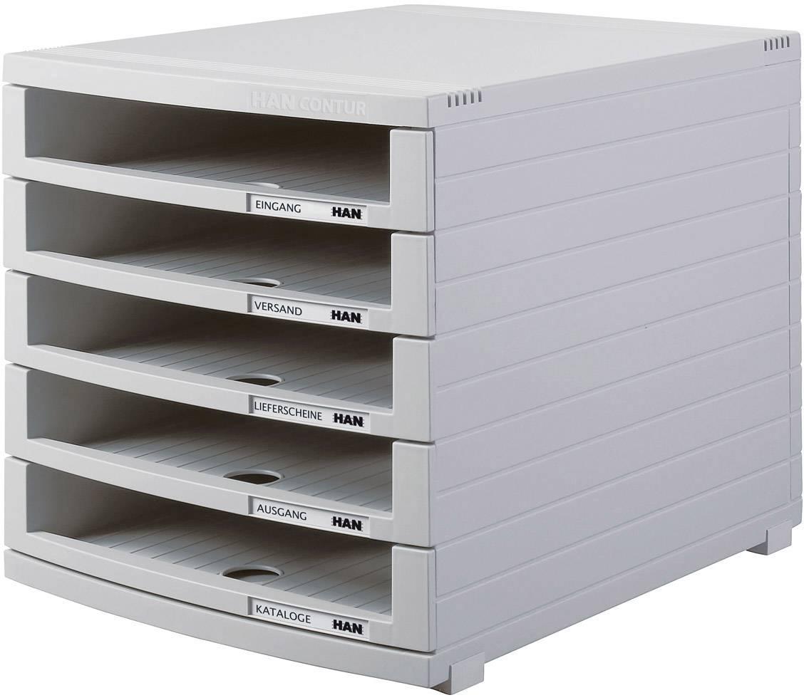 HAN Cassettiera CONTUR 1505-0-11 Grigio luminescente DIN A4, DIN B4, DIN C4 Numero cassetti: 5