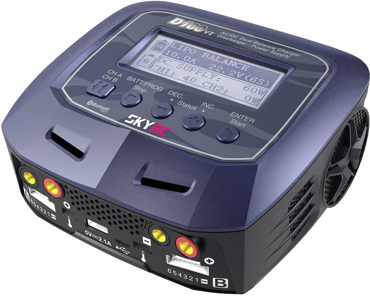 Caricabatterie multifunzione per modellismo 10 A SKYRC D100 V2 LiPo, LiFePO, LiIon, LiHV, NiMH, NiCd, Piombo