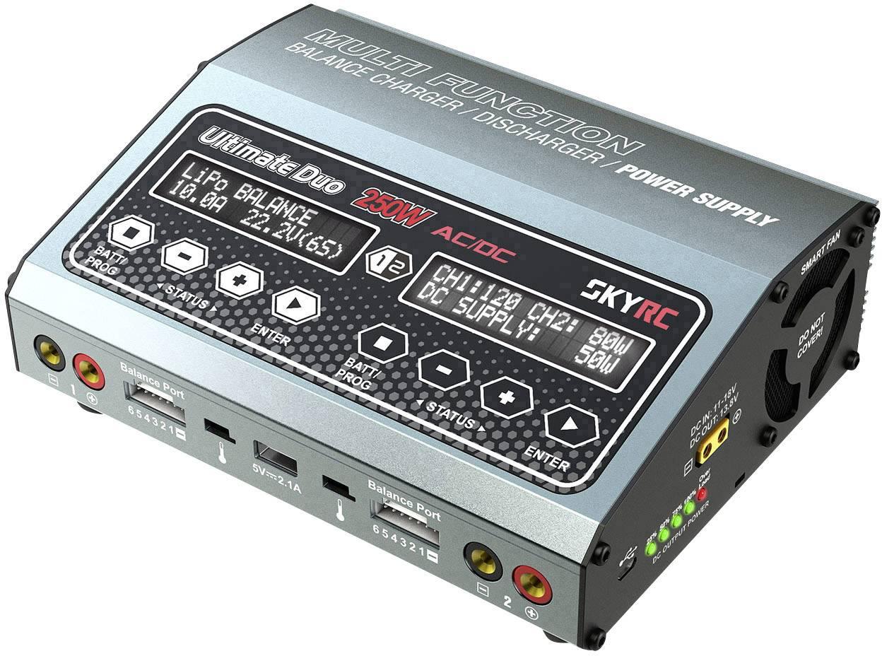 Caricabatterie multifunzione per modellismo 10 A SKYRC D250 LiPo, LiFePO, LiIon, NiMH, NiCd