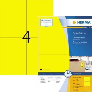 Herma 4396 Etichette 105 x 148 mm Carta Giallo 400 pz. Permanente Etichetta universale Inchiostro, Laser, Copia 100