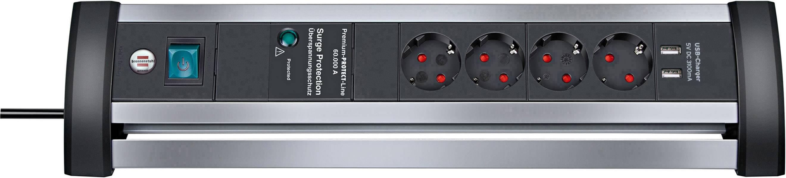 Brennenstuhl 1395000534 Multipresa con protezione da sovratensioni 4 scomparti Alluminio (opaco), Nero Schuko