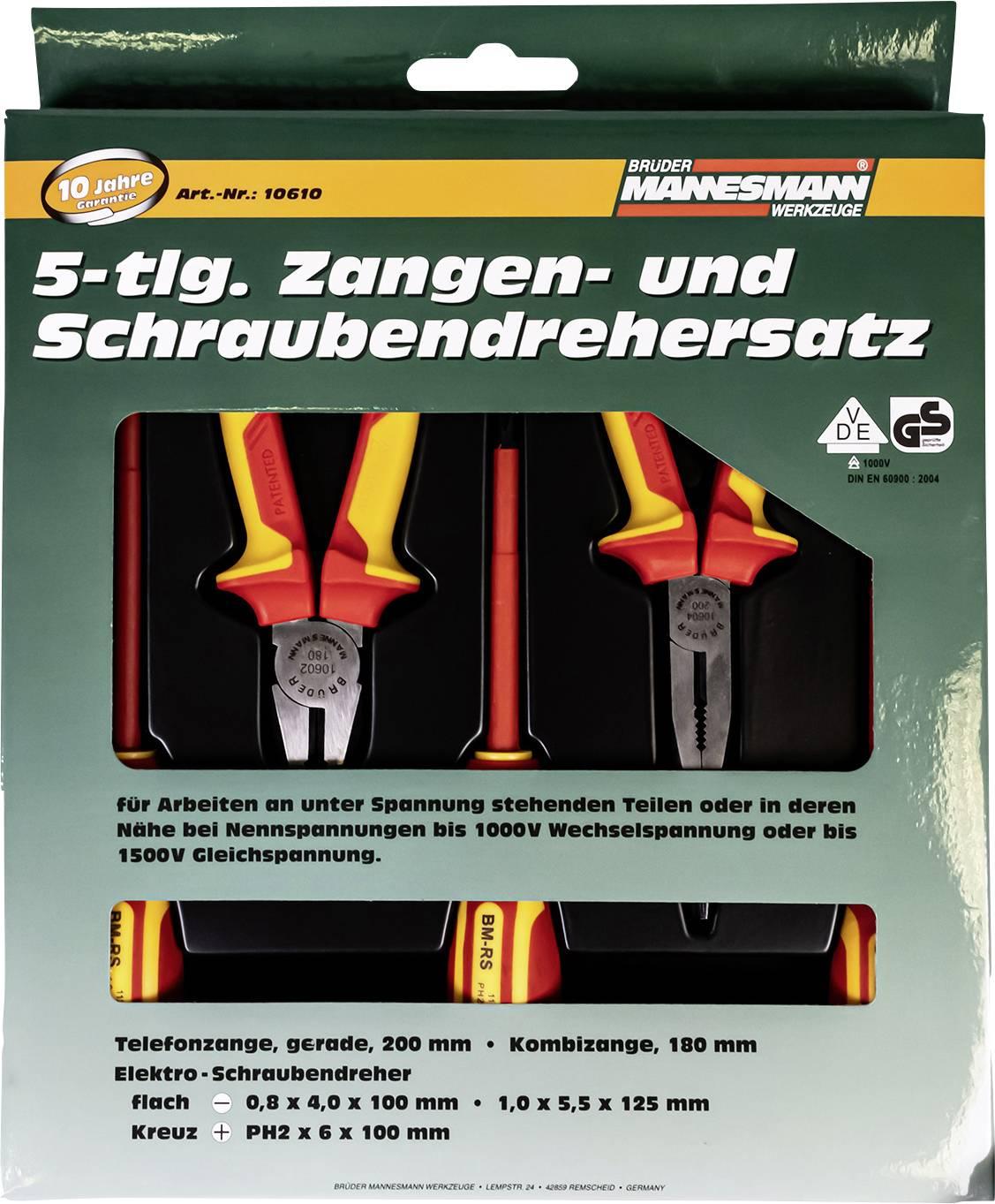 Kit pinze VDE 5 parti Brüder Mannesmann M10610