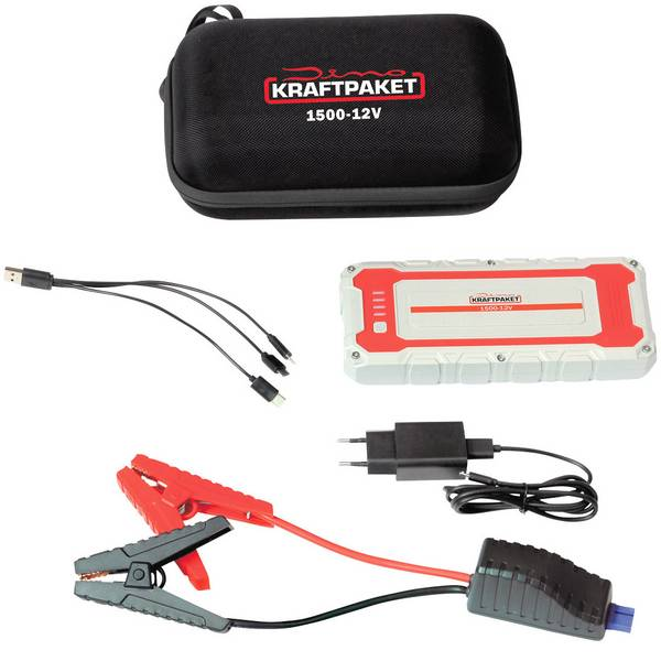 Jump Starter - Sistema di accensione rapido, Cavi batteria per avviamento demergenza Dino KRAFTPAKET 12V 1500A 62.9Wh 136150 Corrente  -