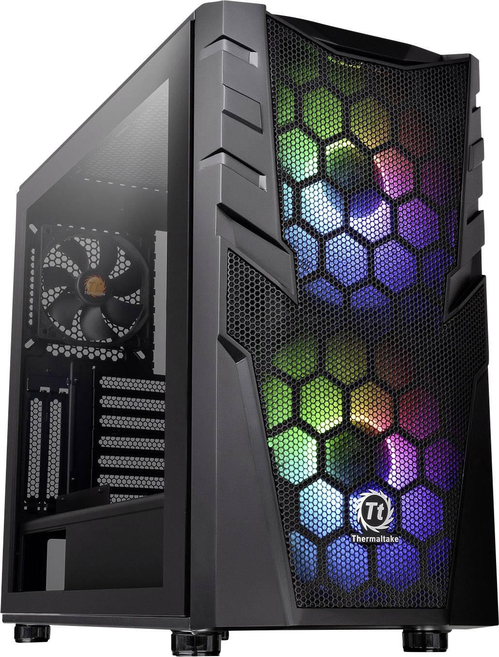 Midi-Tower PC Case, PC Case da gioco Thermaltake Commander C32 TG Nero 2 ventole LED pre-montate, 1 ventola pre-montata,