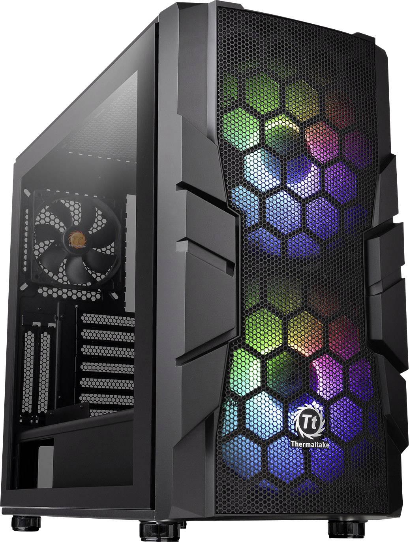 Midi-Tower PC Case, PC Case da gioco Thermaltake Commander C33 TG Nero 2 ventole LED pre-montate, 1 ventola pre-montata,