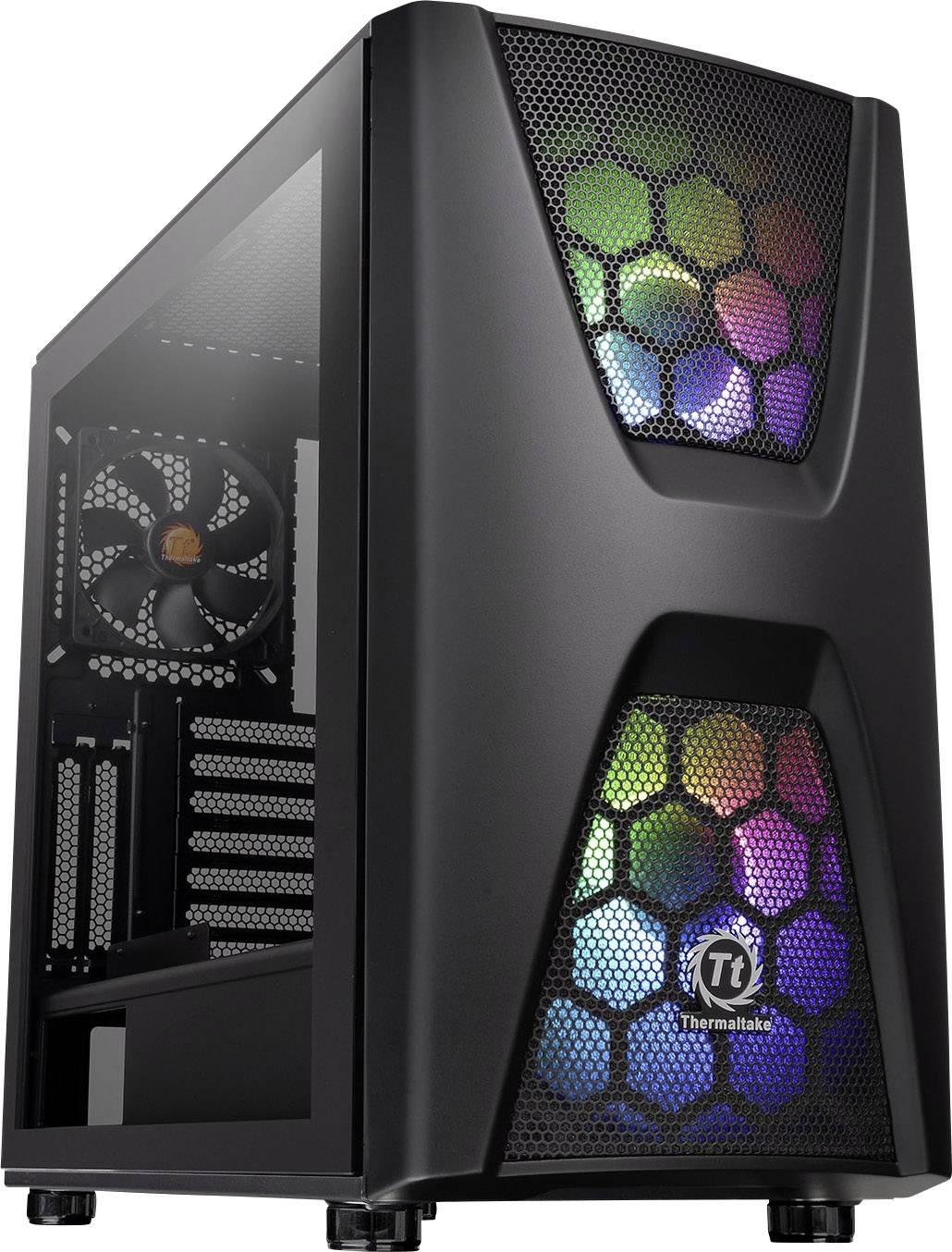 Midi-Tower PC Case, PC Case da gioco Thermaltake Commander C34 TG Nero 2 ventole LED pre-montate, 1 ventola pre-montata,