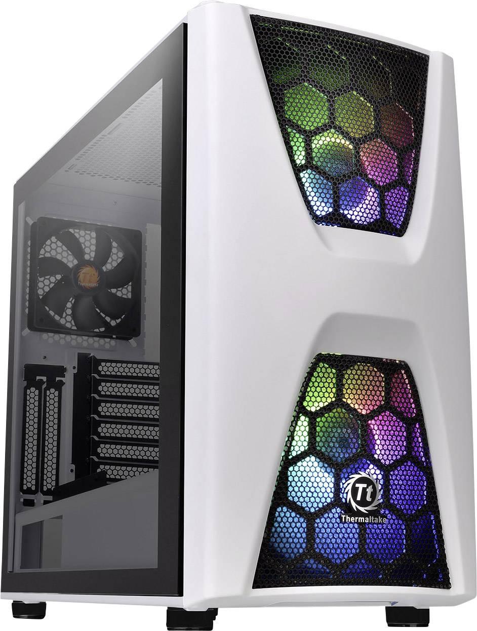 Midi-Tower PC Case, PC Case da gioco Thermaltake COMMANDER C34 TG Bianco, Nero 2 ventole LED pre-montate, 1 ventola