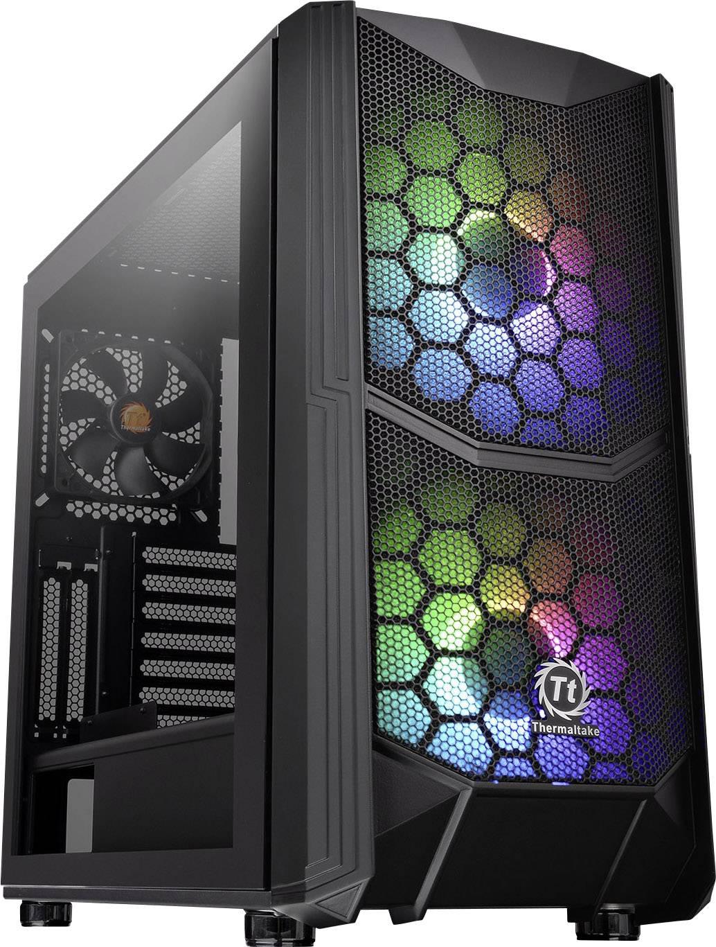 Midi-Tower PC Case, PC Case da gioco Thermaltake Commander C35 TG Nero 2 ventole LED pre-montate, 1 ventola pre-montata,