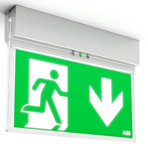 Segnaletica per uscite d`emergenza - ABB 7TCA091160R0284 Indicazione via di fuga illuminata a LED Montaggio a soffitto, Montaggio a parete -