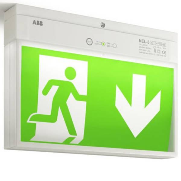 Segnaletica per uscite d`emergenza - ABB 7TCA091160R0265 Indicazione via di fuga illuminata a LED Montaggio a soffitto, Montaggio a parete -
