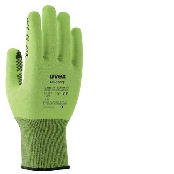Guanti di protezione contro i tagli - Guanto di protezione dai tagli Taglia: 7 EN 388 Uvex C500 dry 6049907 1 Paio/a -