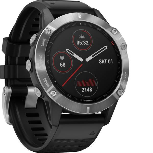 Dispositivi indossabili - Garmin fenix 6 Silver w/Black Band (no MAP/Music/Pay) Smartwatch Nero -