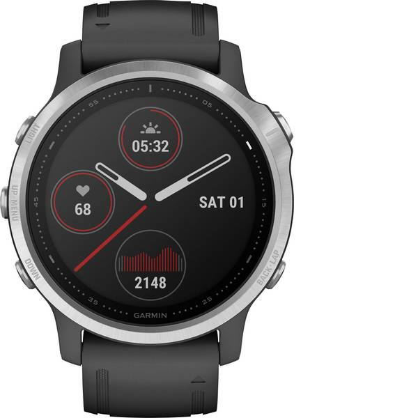 Dispositivi indossabili - Garmin fenix 6S Silver w/Black Band (no MAP/Music/Pay) Smartwatch Nero -