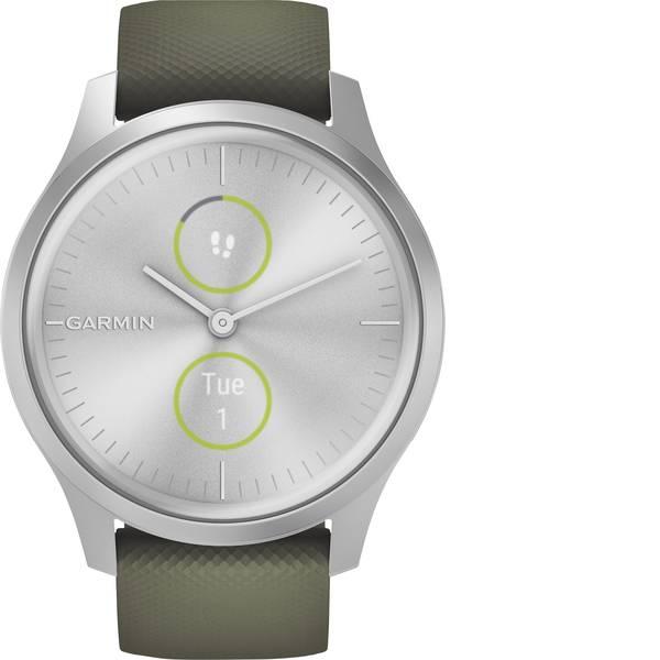 Dispositivi indossabili - Garmin vivomove Style, Silver-Moss Green, Silicone Smartwatch Verde Muschio -