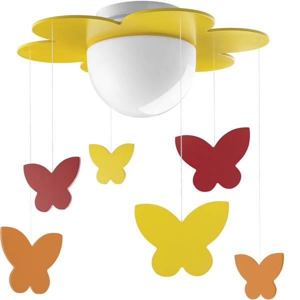 Lampade da soffitto per bambini - Plafoniera farfalle Lampada a risparmio energetico E27 15 W Philips Lighting Meria Giallo, Arancione -