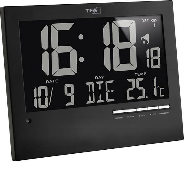 Orologi da parete - TFA 60.4508 Radiocontrollato Orologio da parete 185 mm x 230 mm x 31 mm Nero -