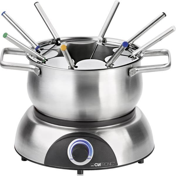 Set per fonduta - Clatronic FD3516 Fonduta 1400 W Con regolazione manuale della temperatura Acciaio, Nero -