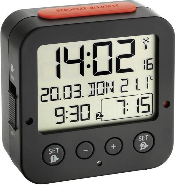 Sveglie - TFA 60.2528.01 Radiocontrollato Sveglia Nero Tempi di allarme 2 -