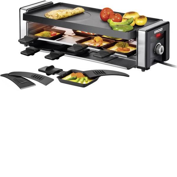 Raclette - Unold Finesse Raclette 8 vaschette, Con regolazione manuale della temperatura Nero, Argento -