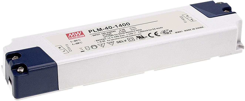 Mean Well PLM-40-1750 Driver per LED Corrente costante 40 W 1.75 A 12 - 23 V/DC adatto per mobili, Protezione