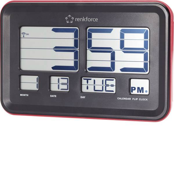 Orologi da parete - Renkforce A541 Radiocontrollato Orologio da parete con numeri pieghevoli 45 mm x 222 mm x 144 mm Rosso -