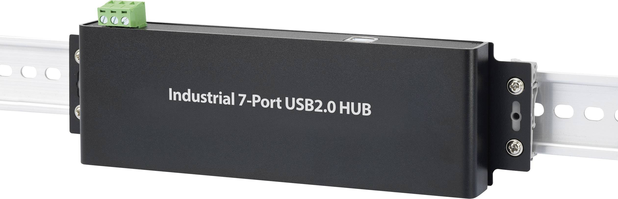 Hub USB 2.0 7 Porte Per montaggio a parete, Contenitore in metallo, Per applicazioni industriali, Con LED di stato Renk