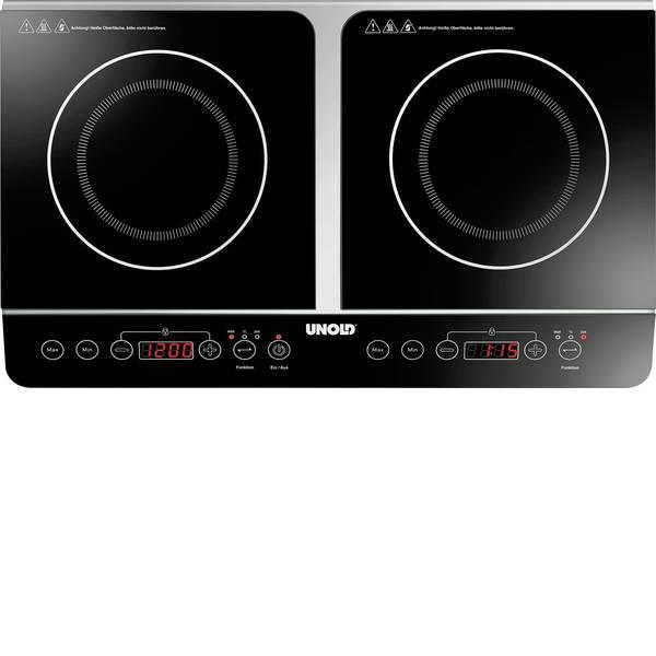 Piastre di cottura - Unold Doppel Elegance 58175 Doppia piastra a induzione con riconoscimento della pentola, 2 regolatori di temperatura  -