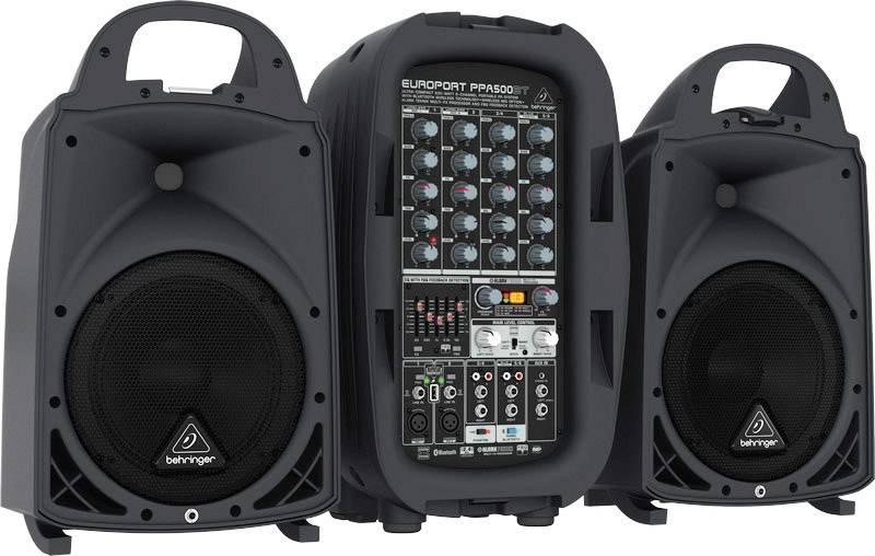 Kit altoparlanti PA attivi Behringer PPA500BT Mixer incorporato , Incl. microfono , Bluetooth