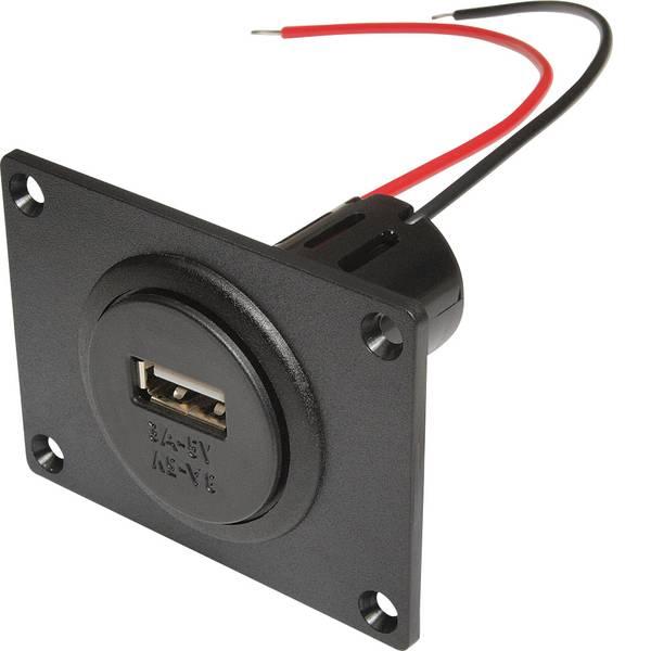 Accessori per presa accendisigari - ProCar Presa Power da incasso USB con piastra di montaggio Portata massima corrente=3 A Adatto per USB-A -