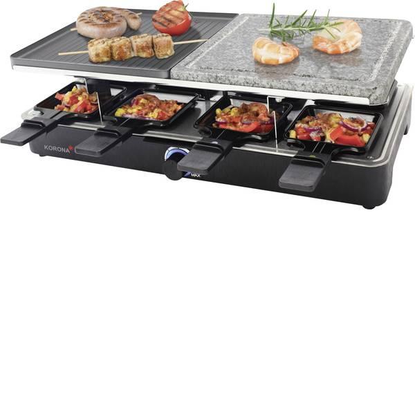 Raclette - Korona 45051 Raclette 8 vaschette, con barbecue in pietra , Con regolazione manuale della temperatura Nero -