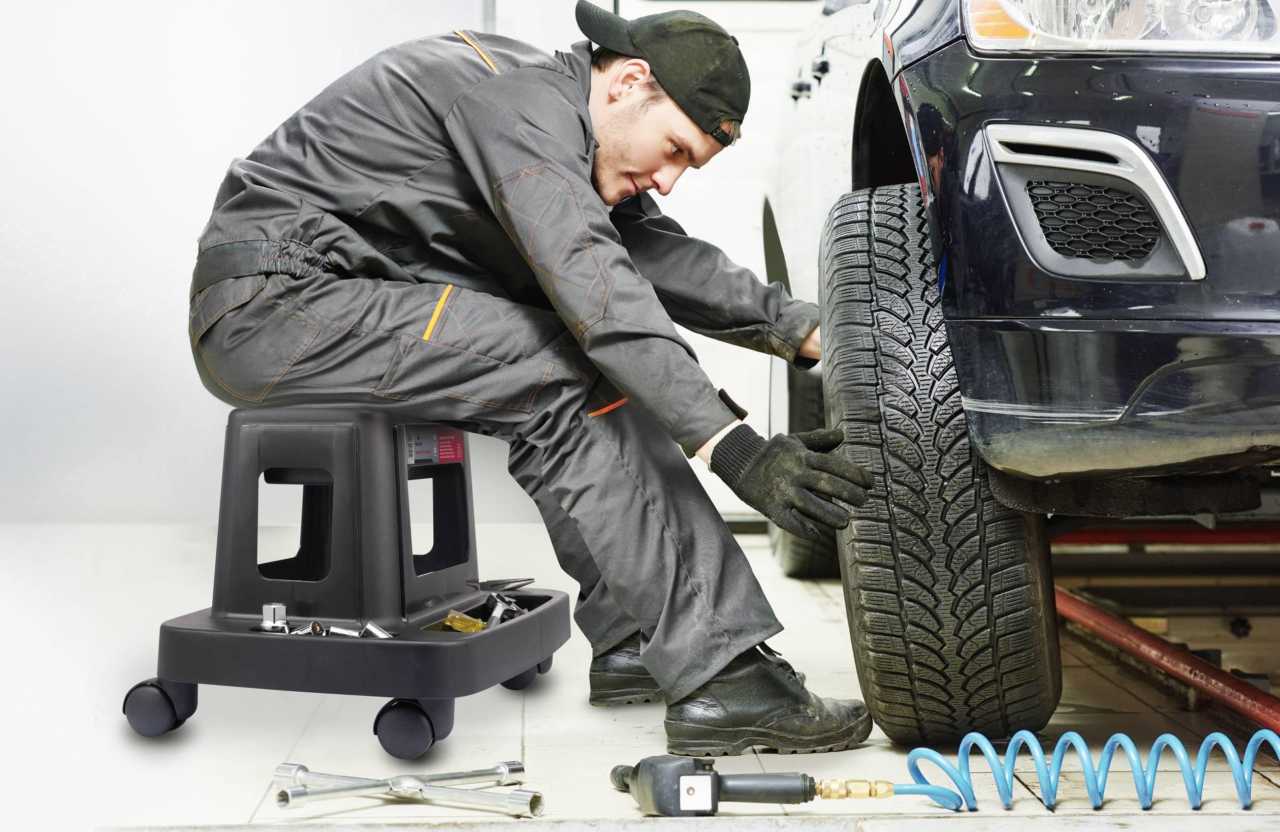 Sgabello da lavoro con rotelle toolcraft conrad