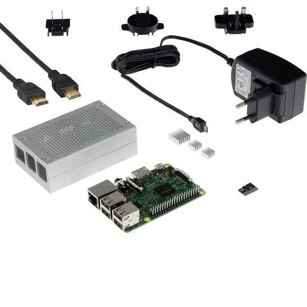 Schede di sviluppo e Single Board Computer - Raspberry Pi® 3 B Mediacenter-Set 1 GB 4 x 1.2 GHz incl. cavo di alimentazione, incl. custodia, incl. Noobs OS, incl.  -