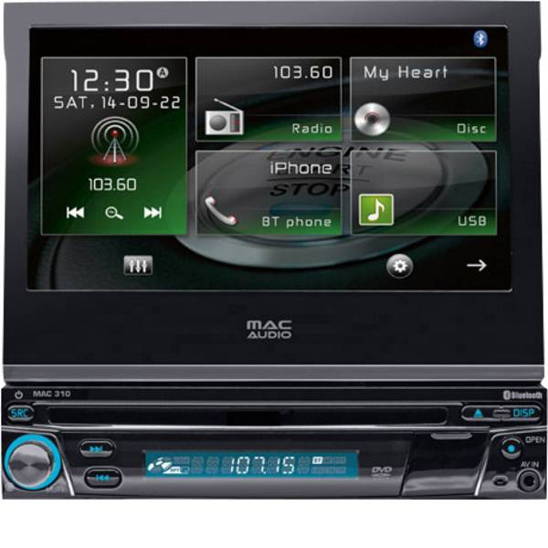 Autoradio e Monitor multimediali - Mac Audio Mac 310 Moniceiver Vivavoce Bluetooth®, Telecomando incl. -