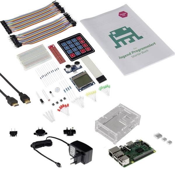 Schede di sviluppo e Single Board Computer - Raspberry Pi® 3 B Jugend Programmiert Starter-Set 2.0 1 GB 4 x 1.2 GHz incl. sensori, incl. breadboard, incl. LED, incl.  -