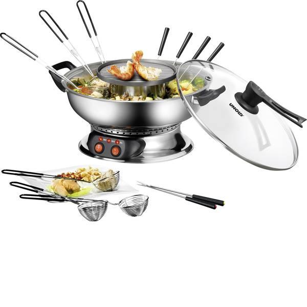 Set per fonduta - Unold Asia Fondue Fonduta 1350 W 2 regolatori di temperatura indipendenti, 6 forchette da fonduta, Funzione grill  -