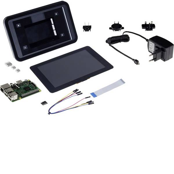 Schede di sviluppo e Single Board Computer - Raspberry Pi® 3 B Touch-PC Set 1 GB 4 x 1.2 GHz incl. display touchscreen, incl. cavo di alimentazione, incl. custodia,  -