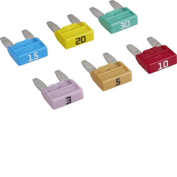 Fusibili per auto - Mini fusibile piatto 3 A, 5 A, 10 A, 15 A, 20 A, 30 A Marrone chiaro, Rosso, Blu, Giallo, Verde, Violetto MTA 30.04000 1  -