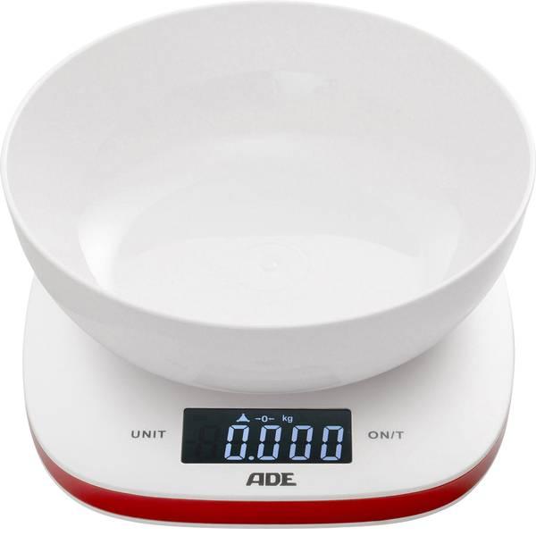 Bilance da cucina - ADE KE 1412 Amelie Bilancia da cucina digitale, con contenitore di misurazione Portata max.=5 kg Bianco-Rosso -