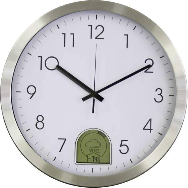 Orologi da parete - EUROTIME 57010 Radiocontrollato Orologio da parete 35 cm Alluminio Previsioni meteo 12-24h -